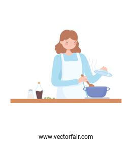 female chef preparing meal with pot in stove kitchen cartoon