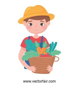 farmer holding basket with vegetables small business, shop local