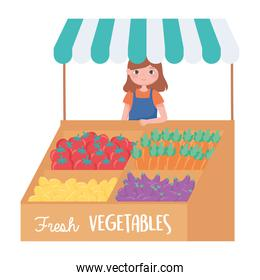 street vendor fresh vegetables small business cartoon