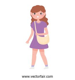 young woman with handbag cartoon design white background