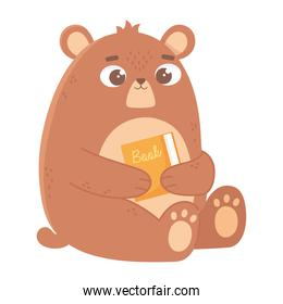 bear with book cartoon cute animal icon white background