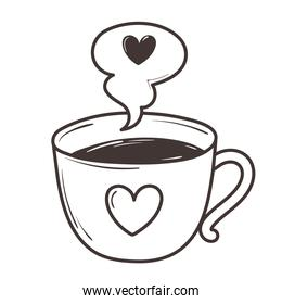 coffee cup love romantic heart doodle icon design