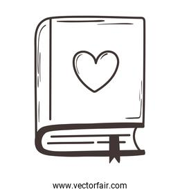 book with heart in cover love romantic doodle icon design