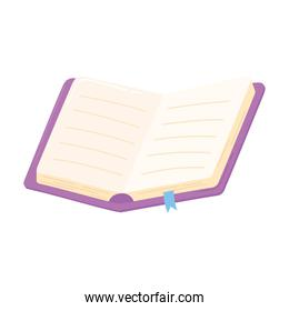 open book bookmark pages learn icon white background