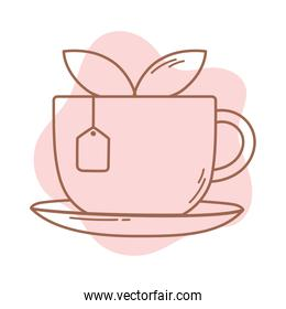 tea cup with teabag and leaf herbal icon line and fill