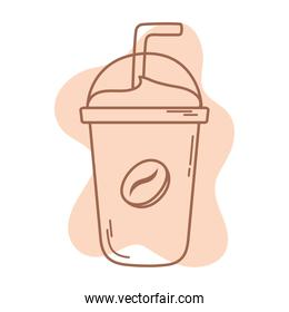 plastic disposable cup coffee with straw icon line and fill