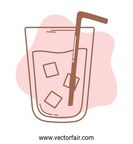 coffee or tea beverage drink cold with straw icon line and fill
