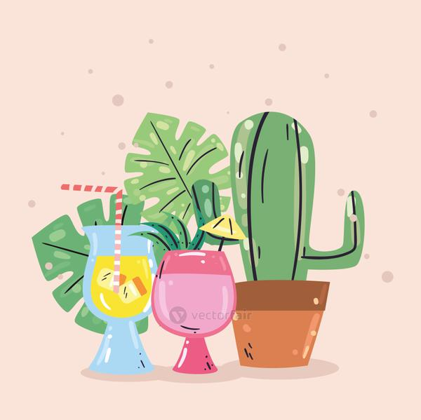 Summer cactus and cocktails vector design