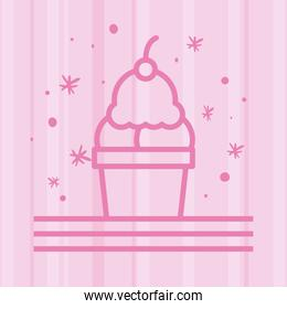 ice cream in glass line style icon pink background