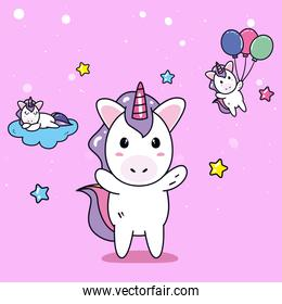 unicorns horses cartoons with stars balloons and cloud vector design
