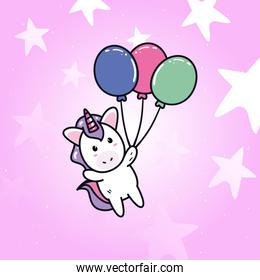 unicorn horse cartoon with balloons and stars vector design