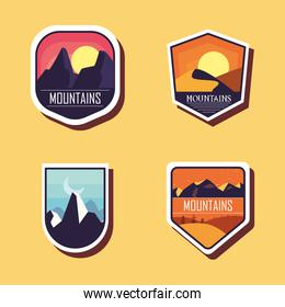 mountains landscapes labels icons collection vector design