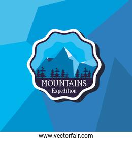mountains expedition seal stamp on blue background vector design