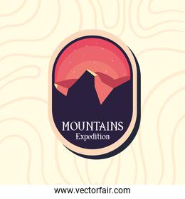 red mountains expedition at night landscape label vector design