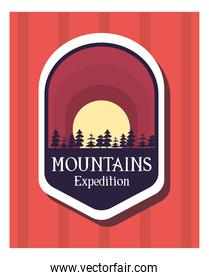 mountains expedition label on red background vector design
