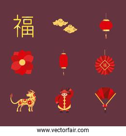chinese new year 2021 icons collection vector design