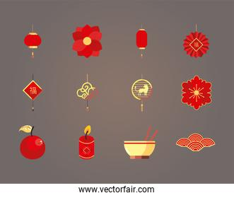 chinese new year 2021 icons bundle vector design
