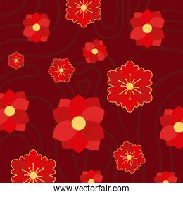 chinese red flowers background vector design