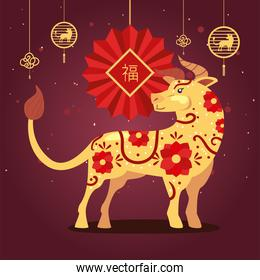 Chinese new year 2021 bull with red ornament hanging vector design