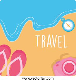 travel sandals and camera on beach vector design