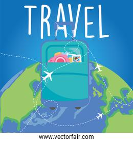 travel bag with camera on world vector design