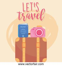travel passport and camera on bag vector design