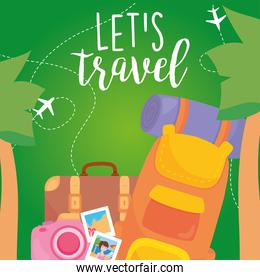 travel bags camera and pictures vector design