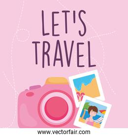 travel camera with pictures vector design