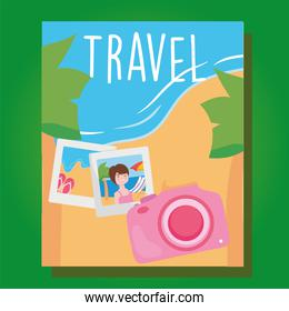 travel camera and pictures on beach vector design