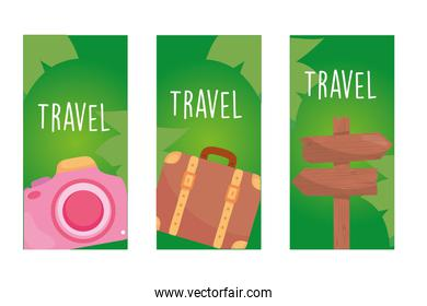 travel camera bag and road sign in labels vector design