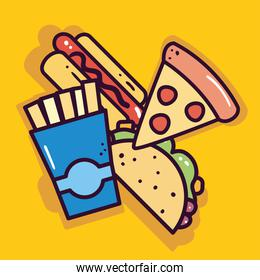 hot dog french fries pizza and taco vector design