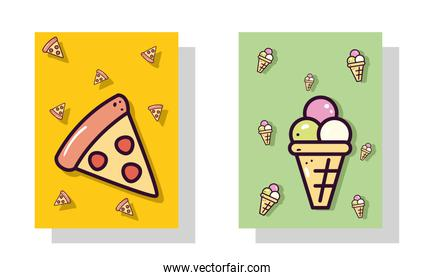 pizza and ice cream labels vector design
