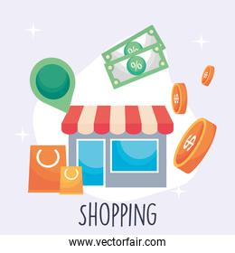 shopping store bags bills and coins vector design