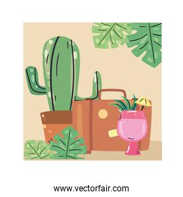 Summer cocktail cactus and bag vector design