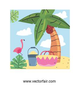 Summer flamingo sand bucket and basket at beach vector design