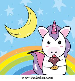 unicorn horse cartoon with cupcake and moon vector design