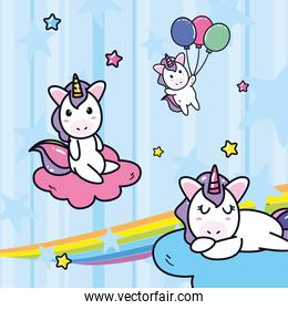 unicorns horses cartoons with clouds rainbow and balloons at sky vector design