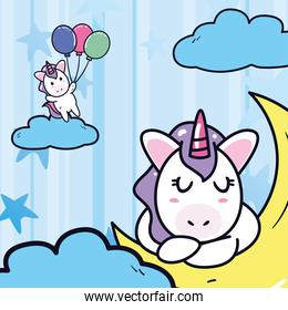 unicorns horses cartoons with moon and balloons vector design