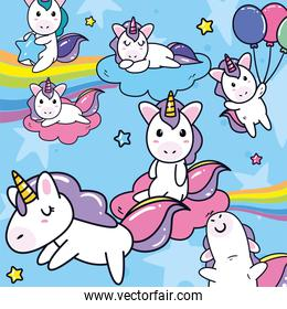 unicorns horses cartoons with clouds stars and balloons at sky vector design