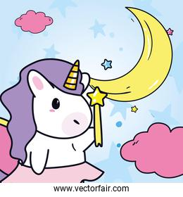 unicorn horse cartoon with star stick and moon vector design