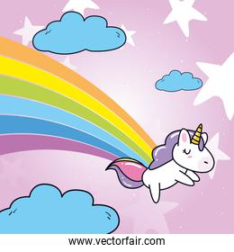 unicorn horse cartoon sleeping with rainbow and clouds vector design