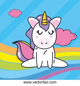 unicorn horse cartoon sitting with rainbow and clouds vector design