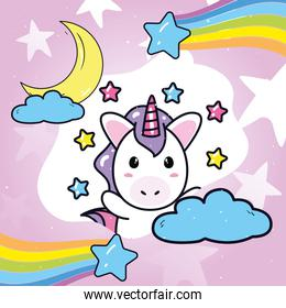 unicorn horse cartoon with rainbow stars moon and clouds vector design