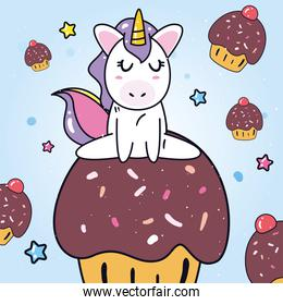 unicorn horse cartoon on cupcake with muffins vector design
