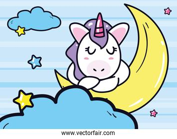 unicorn horse cartoon sleeping on moon with stars and clouds vector design
