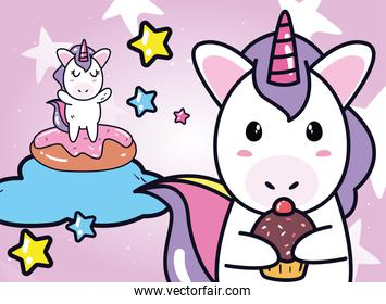 unicorns horses cartoons with cake on cloud and cupcake vector design