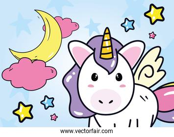 unicorn horse cartoon with moon clouds and stars vector design