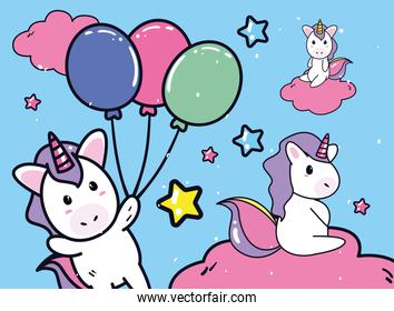 unicorns horses cartoons with balloons vector design