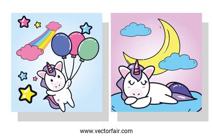 unicorns horses cartoons with balloons and moon in frames vector design