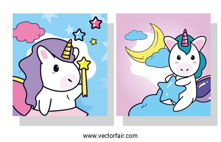 unicorns horses cartoons with star stick and moon in frames vector design
